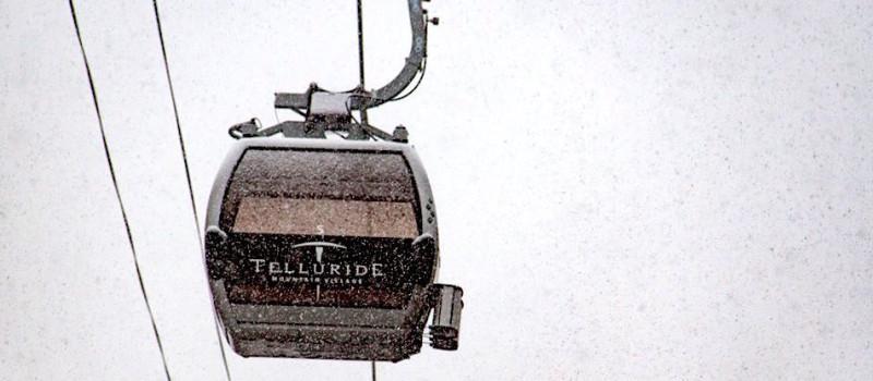 Stock photo of the Telluride gondola in a blizzard