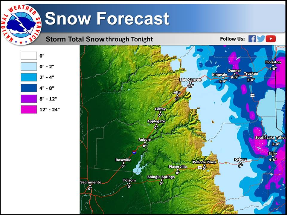 There is still 1-2 feet of snow forecast for the high country of Lake Tahoe today. Pink = 1-2 Feet forecast today.