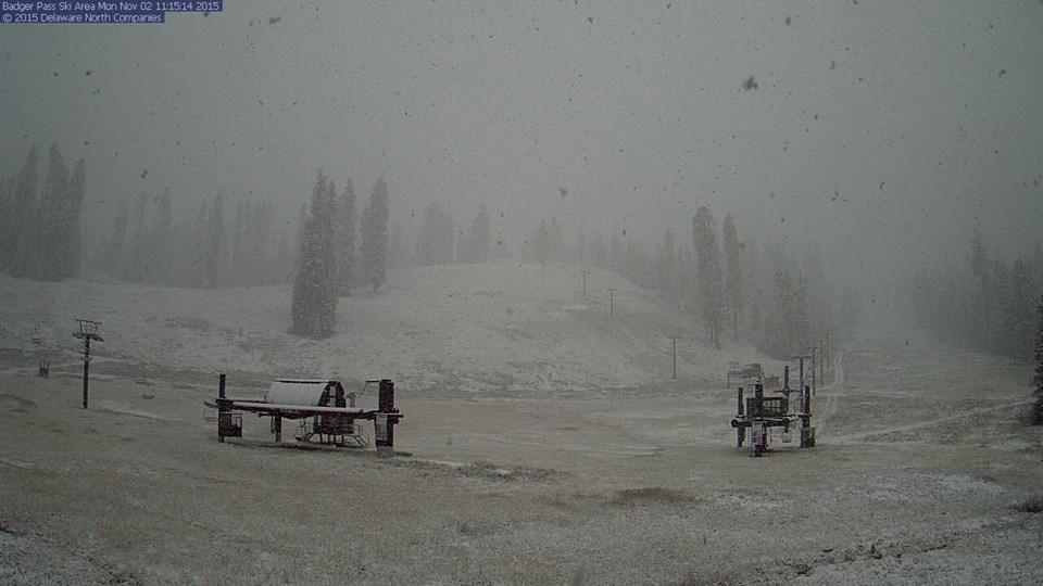 Badger Pass ski resort in Yosemite today at 11am
