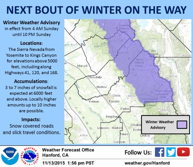 Southern Sierra Nevada snow forecast including Mammoth