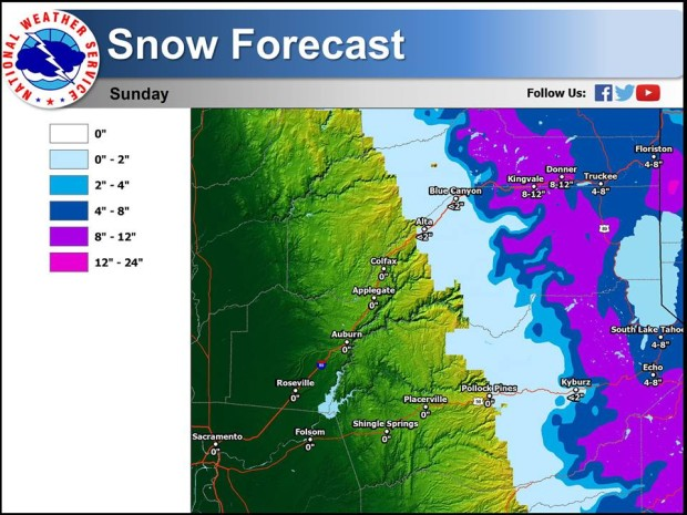 """Tahoe region snowfall forecast map. PURPLE = 12-24"""" of snow forecast. image: noaa"""