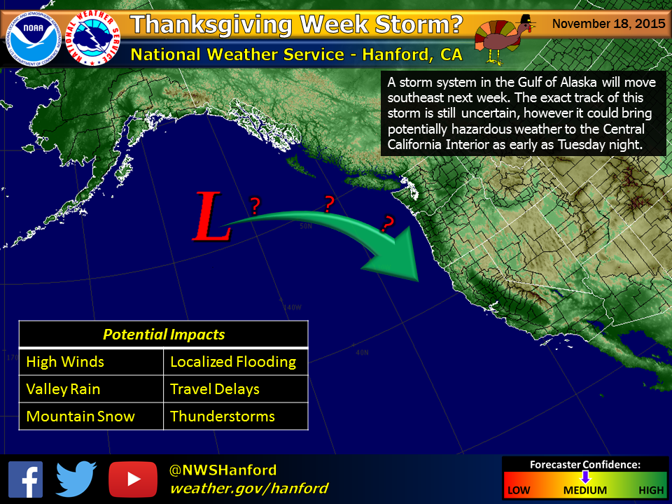 Gulf of Alaska storm is headed to California for Turkey Day