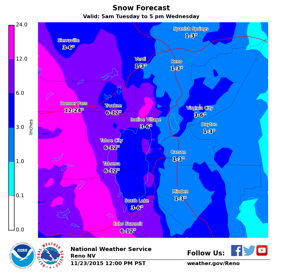 """NOAA is forecasting snow totals of 12-24"""" for Donner Pass just north of Lake Tahoe, CA. image: noaa"""