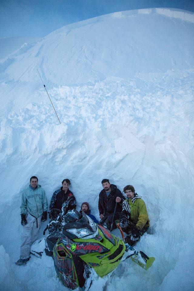 Avalanche that fully buried a snowmobiler in the Eastern Alaska Range, AK yesterday. photo: Eastern Alaska Range Avalanche Cetner