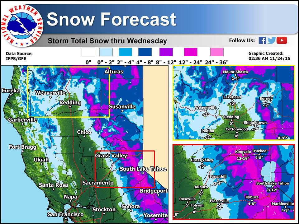 Overall northern California snow forecast map for today. image: noaa, today