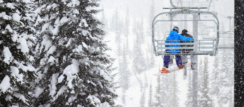 Stock photo of chairlift love in the snow.