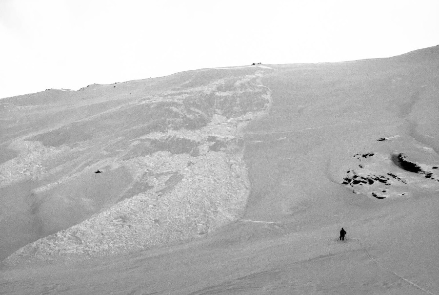 Photo of the avalanche that partially buried a skier yesterday on Hatch Peak off Hatcher Pass, Alaska.