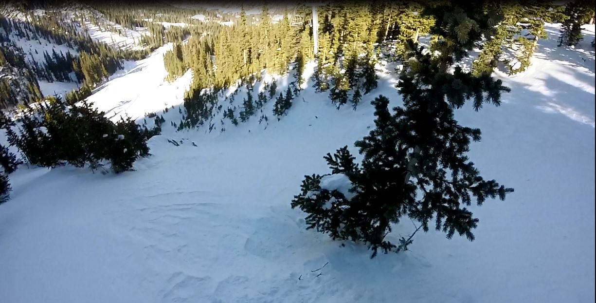 Look down lower Main Street chute, was a bit hesitant to ski this solo based on the fact its a giant terrain trap, but after two strong ski cuts and now movement I blasted.
