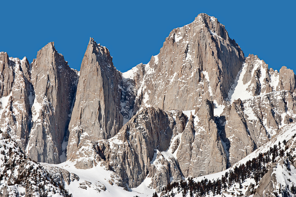 14,497 ft Mount Whitney from the Alabama Hills, Sierra Range, CA in late winter.