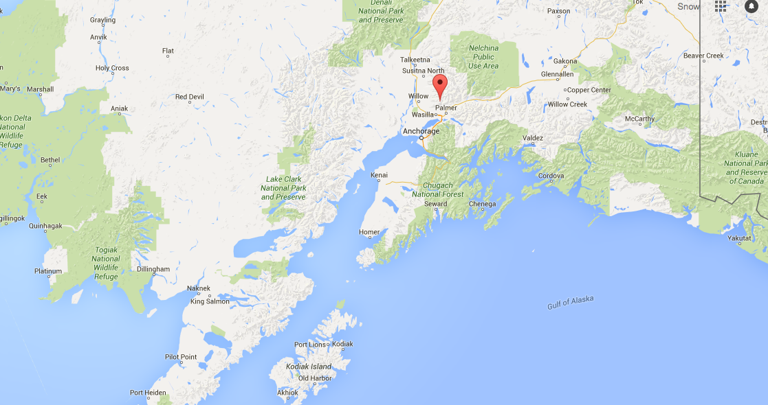 Map of the location of Hatcher Pass, AK.
