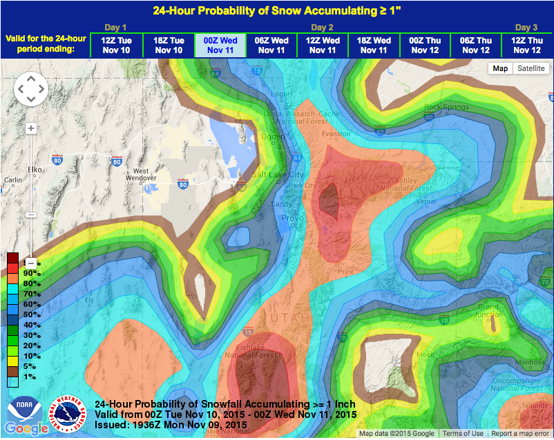 Very high probability of snow in Utah on Tuesday.