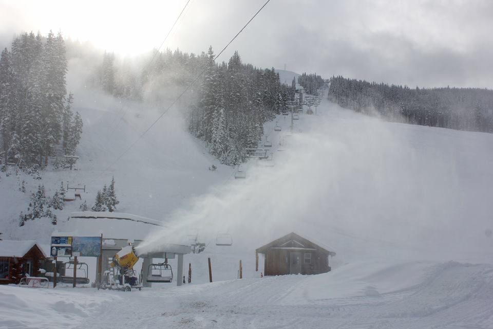 Big Sky Blowing snow this morning
