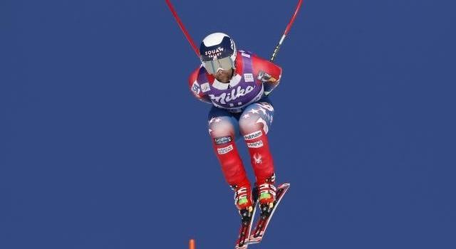 Travis flying in yesterday's Downhill.
