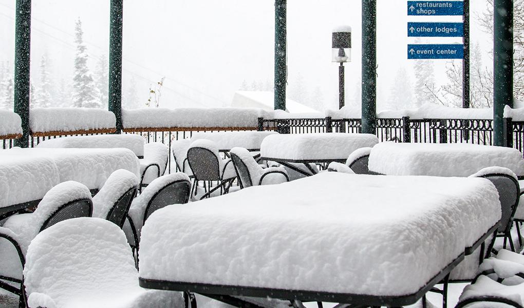 Snowbird, UT's patio today. photo: snowbird