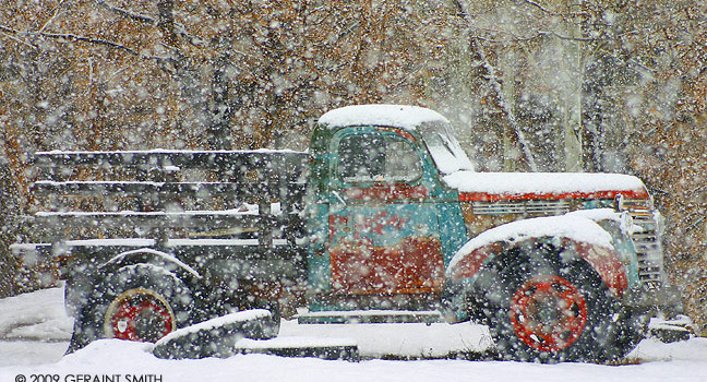 If you've never been to Taos, this is the year to go New Mexico truly is the Land of Enchantment. (photo of a truck in the snow in Taos, NM by