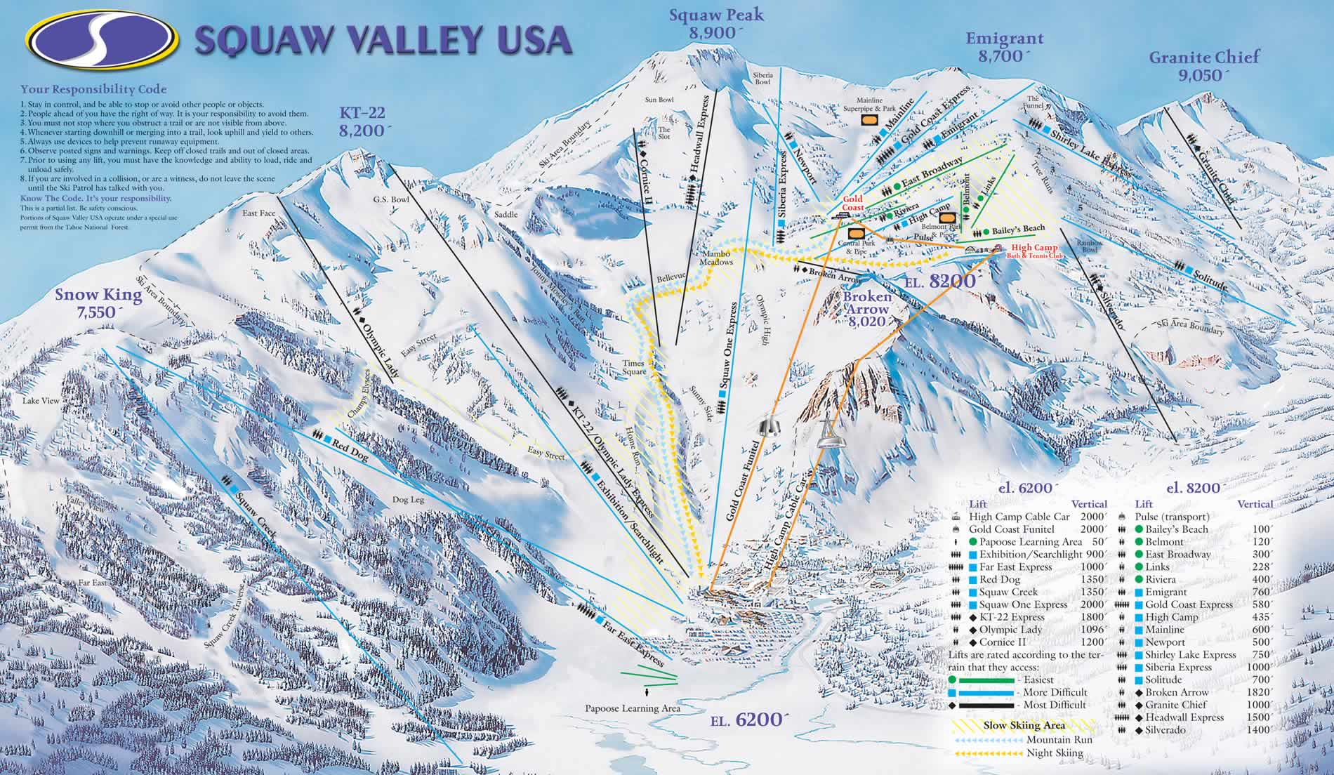 Squaw Valley, USA trail map