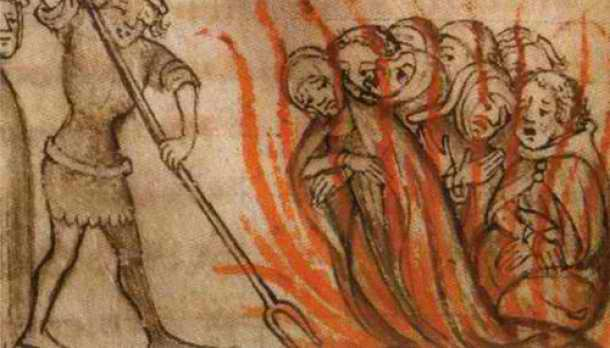 Knights of the Templar being burned at the stake by the French, Friday the 13th