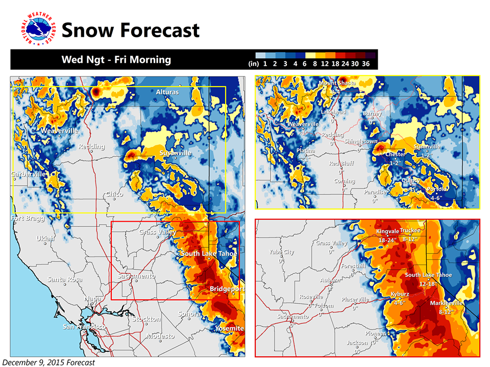 """Snow forecast map for NorCal on Thursday.  RED = 12-18"""" of snow forecast.  ORANGE = 12-18"""" of snow forecast."""