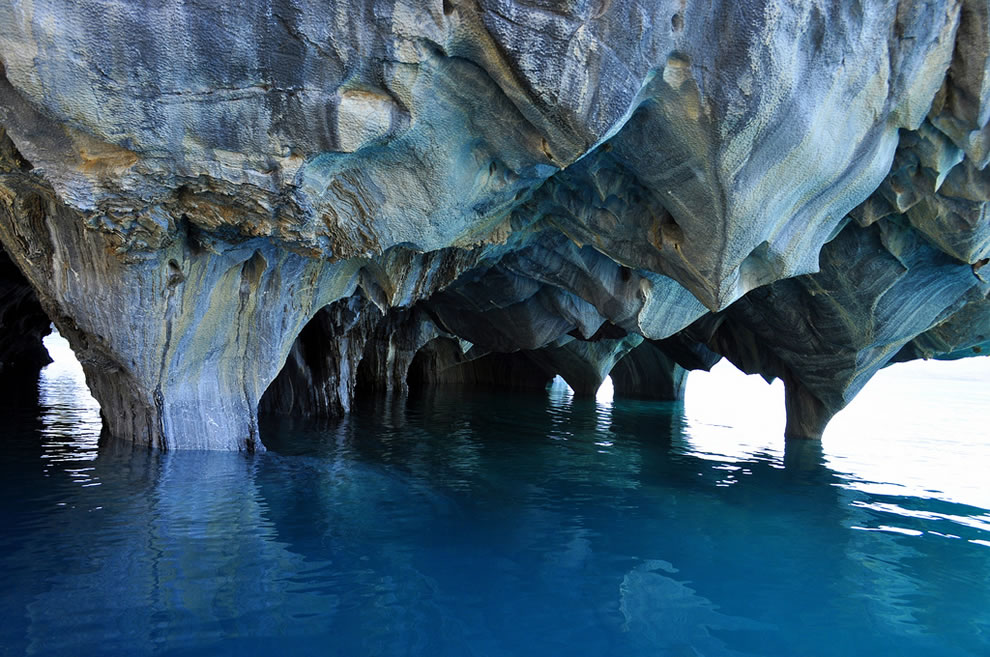 The Marble Cathedral in Lake General Carrera.