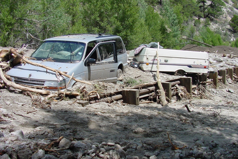 Flooding and debris flows can occur quickly and trap or kill unsuspecting victims in their path. (Credit: NOAA)