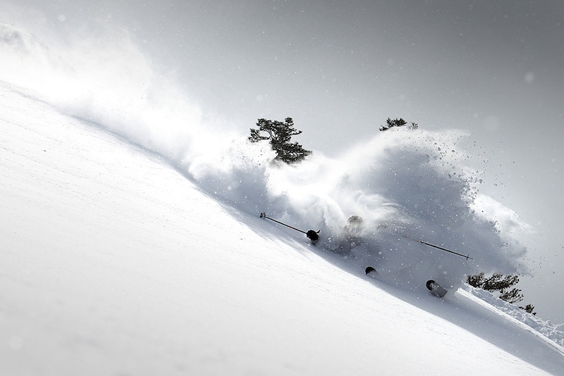 Jamie Blair smashing a turn on KT-22 at Squaw Valley, CA after an Atmospheric River event in 2011