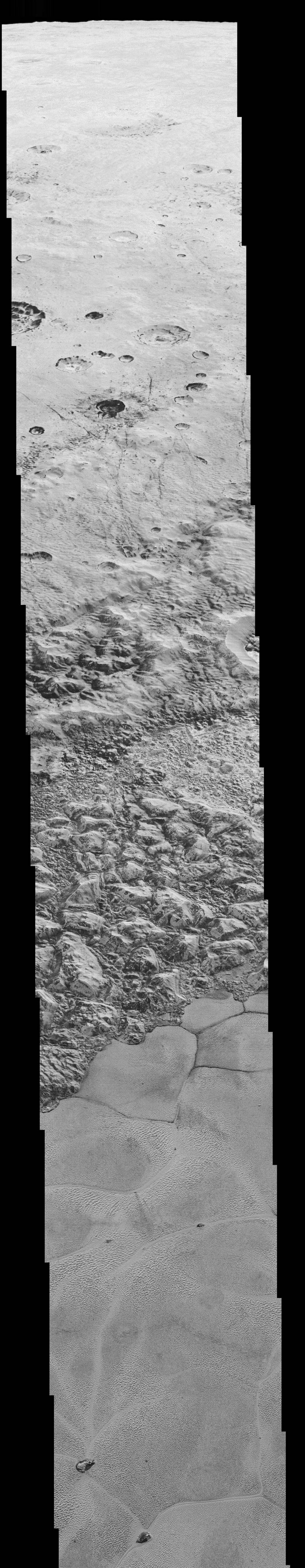 This mosaic is composed of the sharpest views of Pluto that NASA's New Horizons spacecraft obtained during its flyby on July 14, 2015. The pictures are part of a sequence taken near New Horizons' closest approach to Pluto, with resolutions of about 250-280 feet (77-85 meters) per pixel – revealing features smaller than half a city block on Pluto's diverse surface. The images include a wide variety of cratered, mountainous and glacial terrains – giving scientists and the public alike a super-high resolution window to Pluto's geology. The images form a strip 50 miles (80 kilometers) wide trending from Pluto's jagged horizon about 500 miles (800 kilometers) northwest of the informally named Sputnik Planum, across the al-Idrisi mountains, onto the shoreline of Sputnik Planum and across its icy plains. They were made with the telescopic Long Range Reconnaissance Imager (LORRI) aboard New Horizons, over a timespan of about a minute centered on 11:36 UT on July 14 – just about 15 minutes before New Horizons' closest approach to Pluto –from a range of just 10,000 miles (17,000 kilometers). Credit: NASA/JHUAPL/SwRI