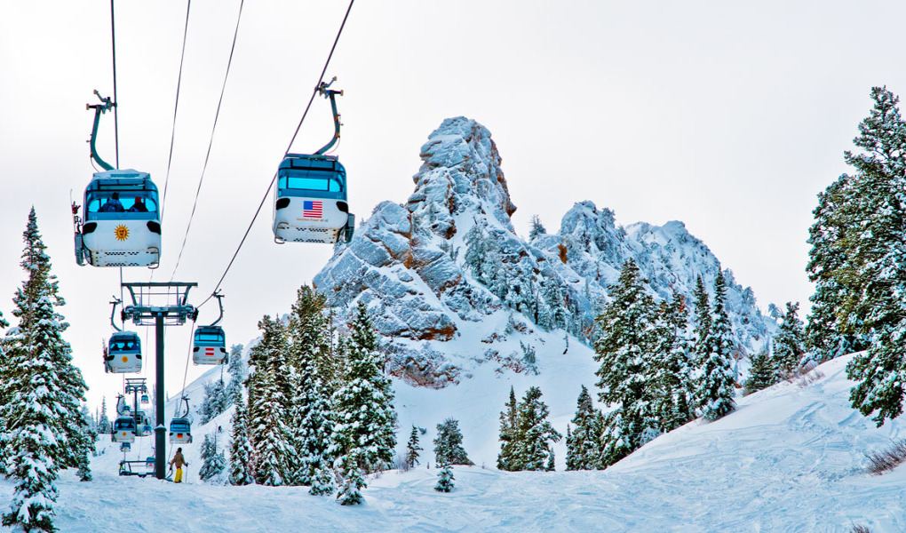 Stock image of Needles gondola at Snowbasin, UT.