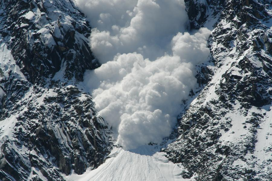 stock photo of an avalanche in Chamonix, France.