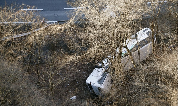 Image of the wrecked ski bus in Japan that killed 14 today. image: AP