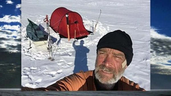 Henry Worsley and one of his camps in Antarctica.