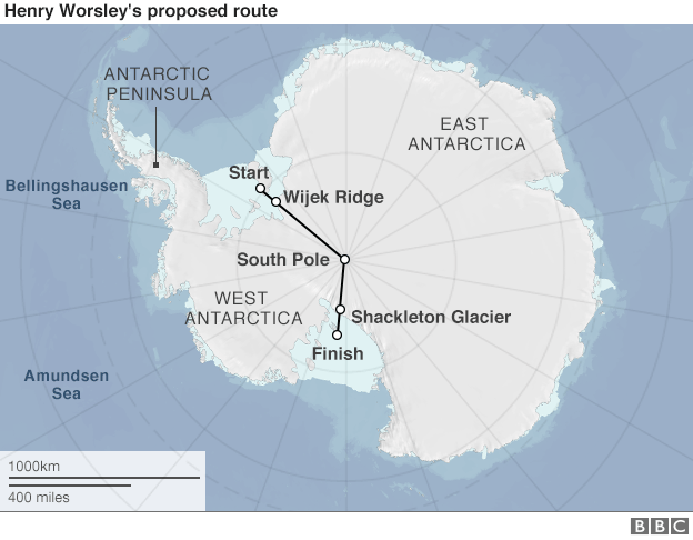 Henry Worsley planned route.