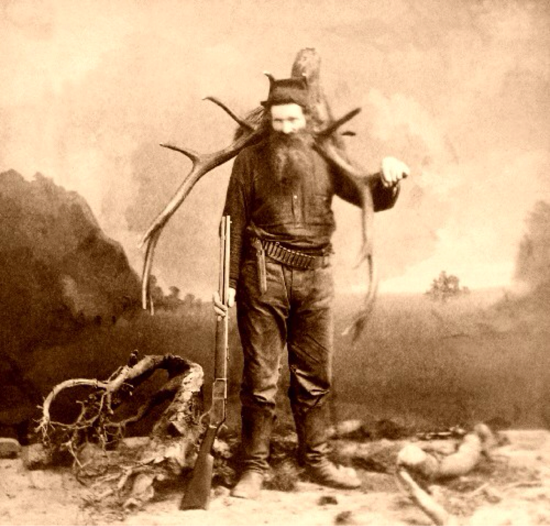 French trapper from the 19th century bringing home the goods.