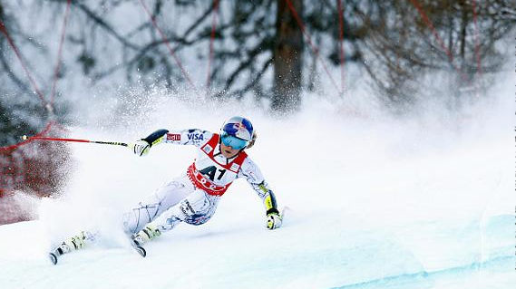 Lindsey Vonn skis toward victory #73 at Sunday's super G in Altenmarkt-Zauchensee, Austria. (Getty/ Agence Zoom-Christophe Pallot)