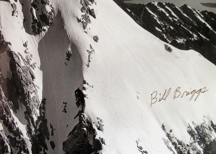 Bill Briggs first tracks down the Grand Teton. photographed on June 16th, 1971 from a plane.