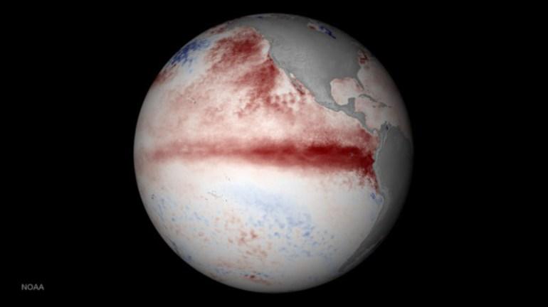 NASA image of sea surface temperatures reflecting el niño from January