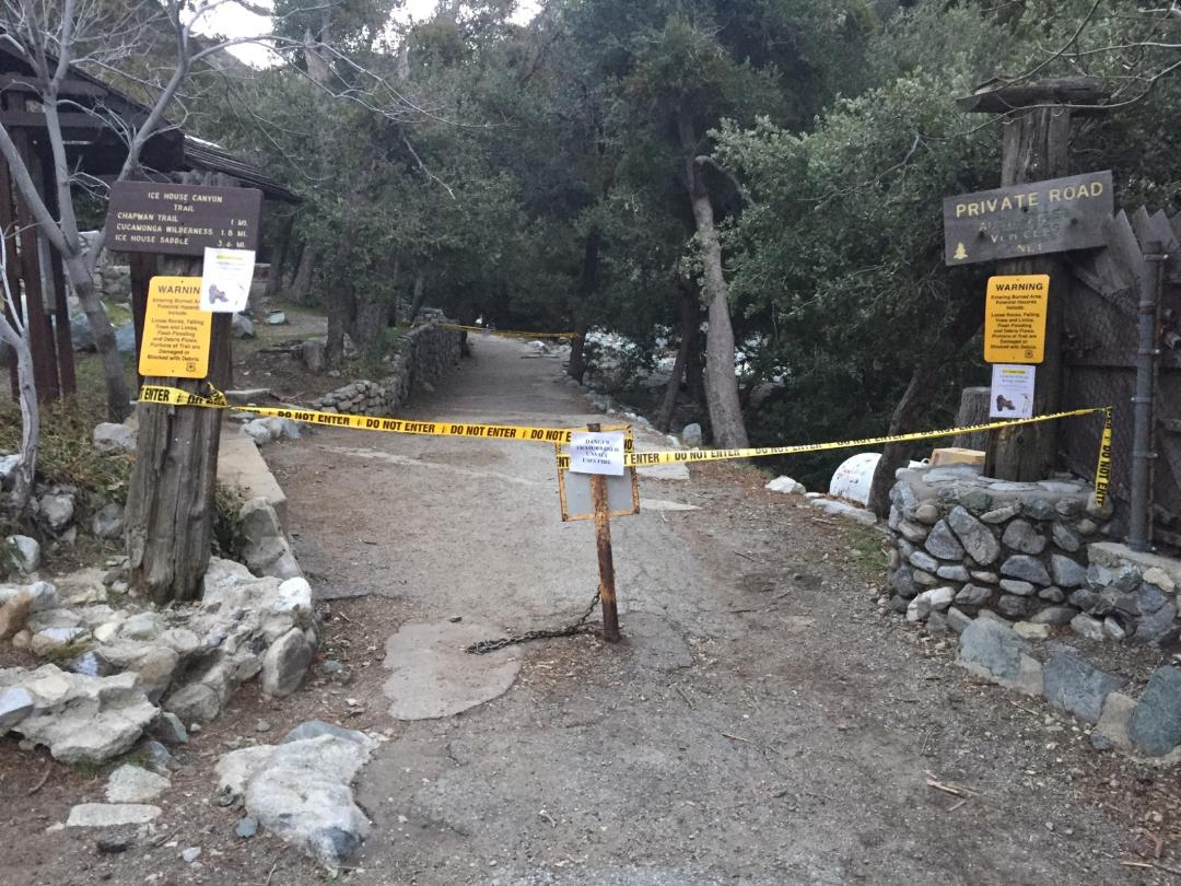 """Many trails in Mt Baldy are closed today due to treacherous conditions. 12 people and 2 dogs were hoisted out by helicopter yesterday with various injuries."" - Mt. Baldy Fire Department, Feb 7"