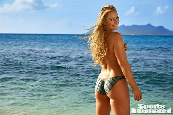 Lindsey Vonn wearing only body paint for the Sports Illustrated swimsuit issue. image: lindsey's facebook