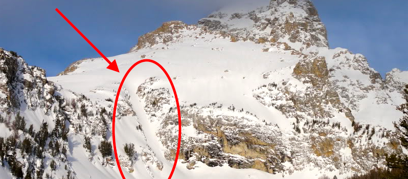 Dissapointment peak and the Spoon Couloir (marked) where the avalanche occurred.  image:  _aaron_