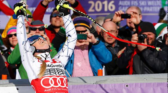 Lindsey celebrating her 76th World Cup win.  photo:  getty/christophe pallot