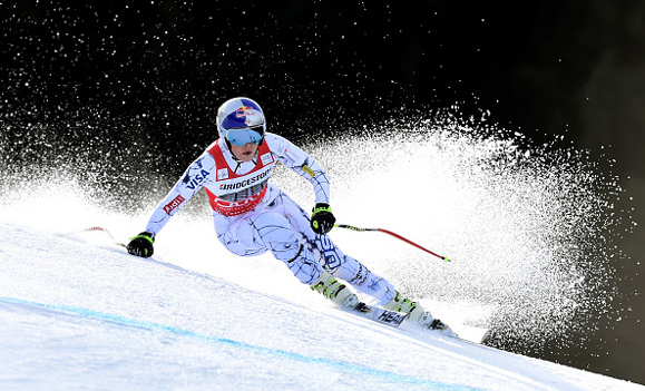 Lindsey dominating the downhill in Germany on Saturday.  photo:  Christof Stache/Agence France-Presse — Getty Images