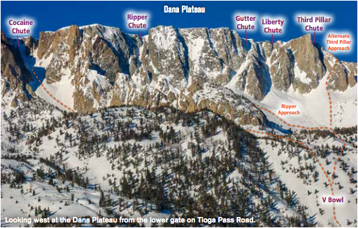 The chutes off the Dana Plateau including Ripper Chute. image: wolverine publishing