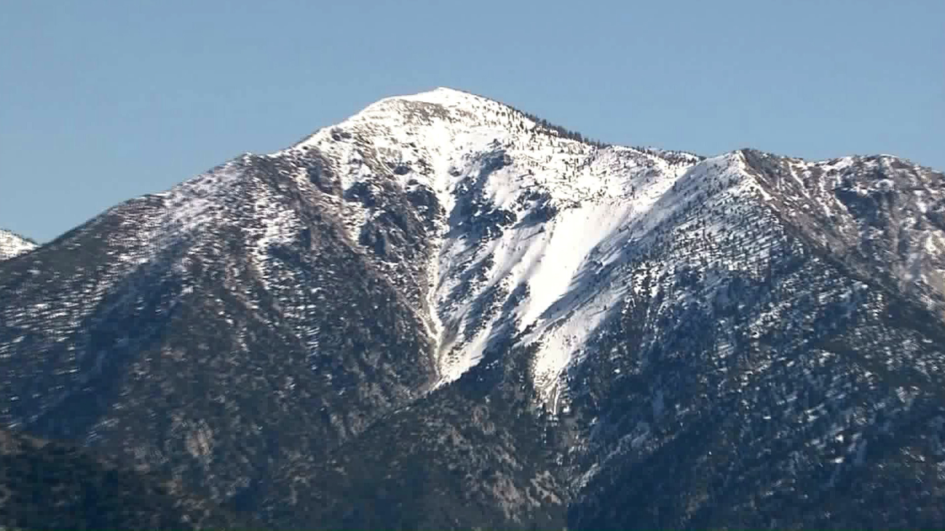 10,064-fooet Mt. Baldy on Feb. 8th, 2016.  photo:  KTLA