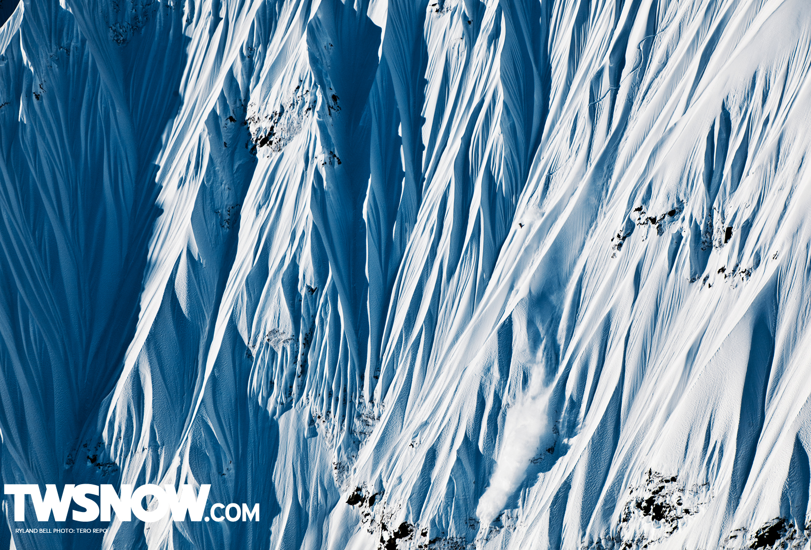 Squaw ripper Ryland Bell charging a really really big line in Alaska for Jeremy Jones' Deeper movie. photo: tero repo