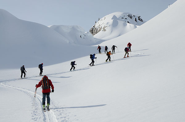 Ski group touring in British Colombia