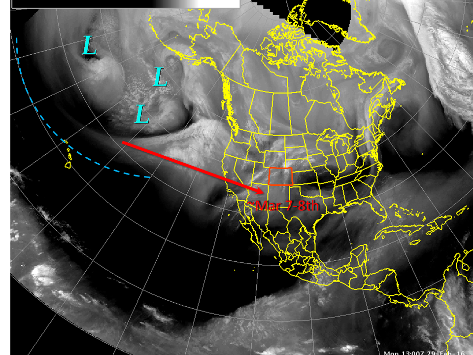 """""""A lot of storminess in the central and north Pacific right now, seen in the water vapor image from thius morning, will slowly translate eastward until it reaches the Central Rockies sometime early next week. Then, expect a return to cool and unsettled conditons, maybe even some snow for the lowlands"""" - NOAA, Colorado yesterday"""