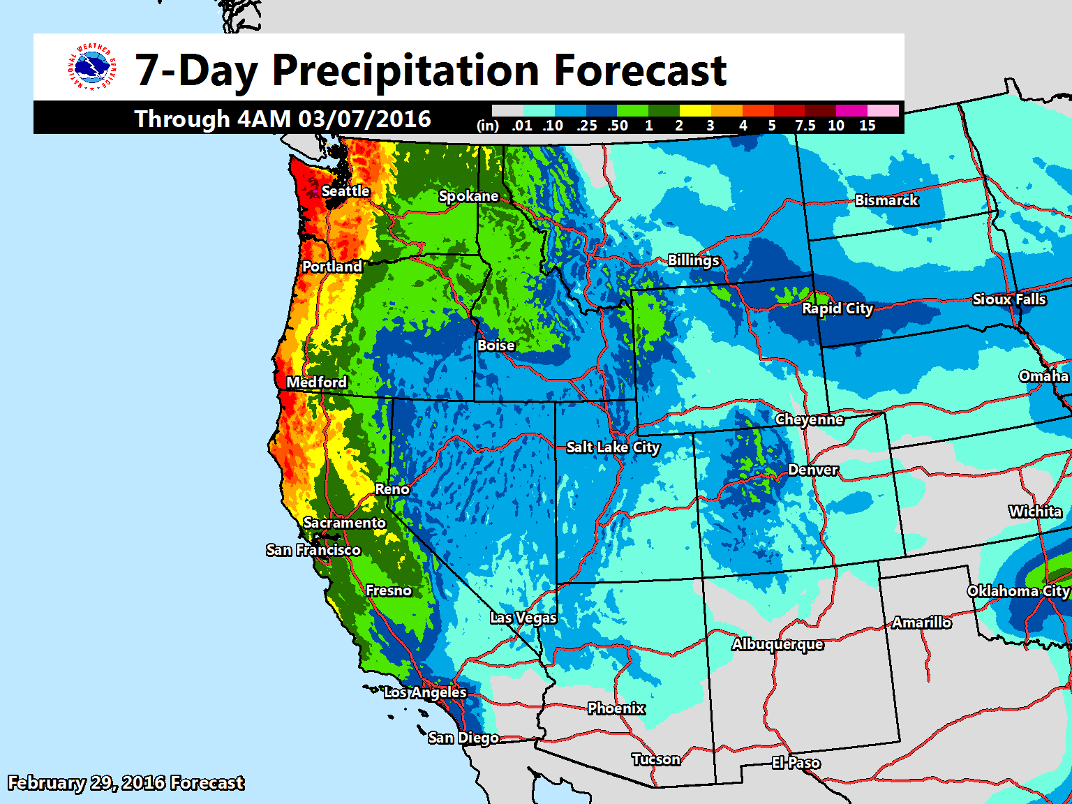 """As has been recently advertised, a more active storm track is becoming more likely and will result in widespread precipitation into this weekend and next week. The image shows the 7-day precipitation forecast across the West."" - NOAA, Feb. 29"
