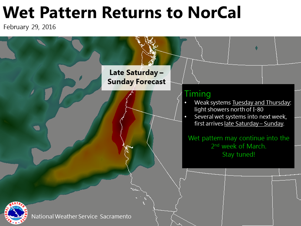 """""""Wet weather could return to Northern California this weekend and may continue into the 2nd week of March!"""" - NOAA Sacramento, CA today"""