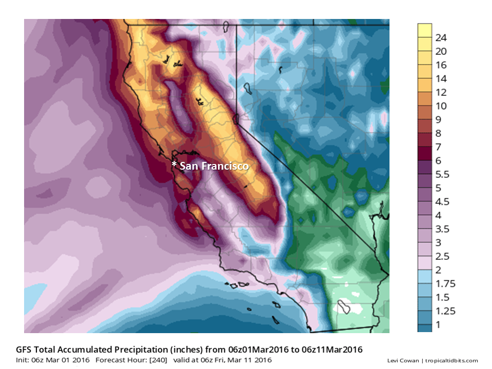 """""""Little change in the computer models overnight, although some of them are now showing higher rainfall amounts than 24 hours ago. In this image, you can see the forecast for rainfall totals over the next 10 days. If this verifies, many locations will see greater than half a foot of rain by the end of next week with much higher amounts for Coastal ranges. Gusty southerly winds are still forecast for Saturday."""" - NOAA, today"""