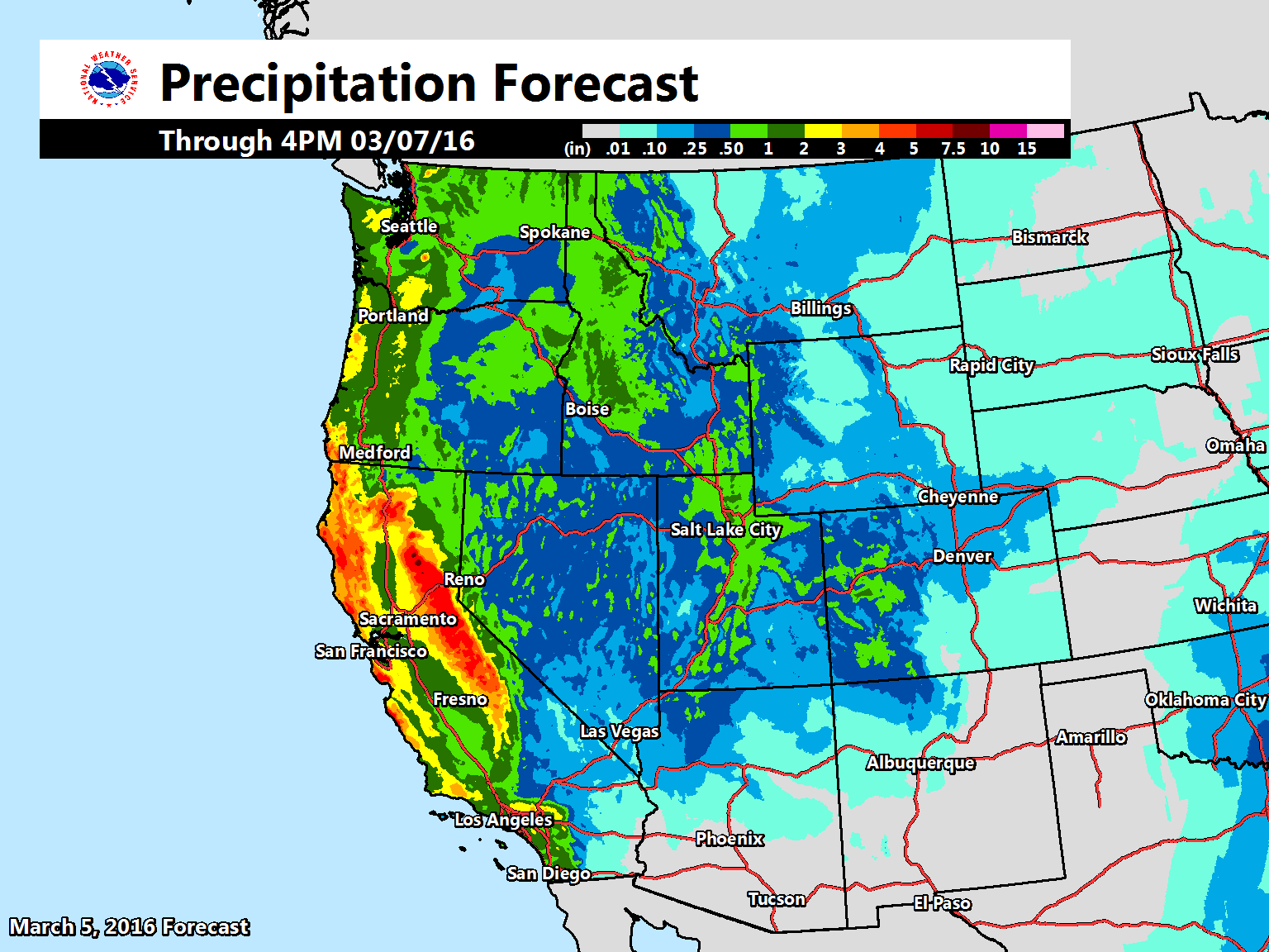 Wet Conditions Expected Across Much Of The Western U S Over The Next 3 Days