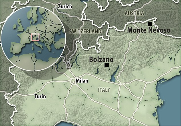 Map showing Monte Nevoso, Italy.